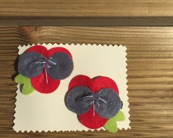 Felt flower pansy style hair clips