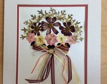 "Original Pressed Flower Artwork - ""Ribbon Bouquet"""