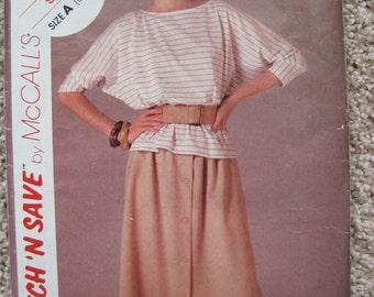UNCUT Misses T-Shirt and Skirt - Size 6 to 10 - McCalls Pattern 9107 - Vintage 1984