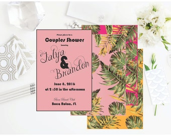 PRINTABLE invitation, couples shower, engagement party, bachelorette party, save the date, tropical
