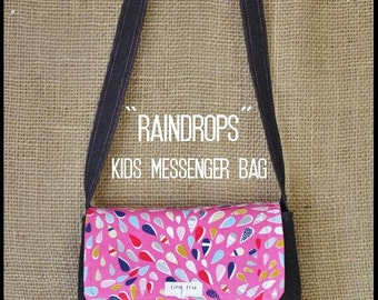 "Messenger Bag -- ""Raindrops"" -- Kids Messenger Bag, Satchel, Shoulder Bag"