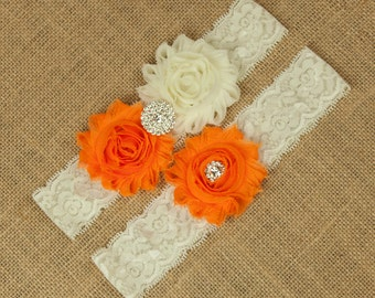 Wedding Garter Belt, Bridal Garter Belt, Toss Garter, Keepsake Garter, Orange Wedding Garter, Bridal Garter Belt, Wedding Garter, SCI1-O02