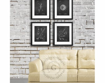 Attractive Sports Decor, Golf Art Set Of 4 Prints, Golf Posters, Chalkboard Art Prints
