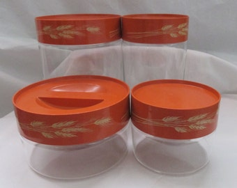 Vintage, Pyrex, 4 Piece Set of Store N See Canisters in Autumn Harvest. 1981