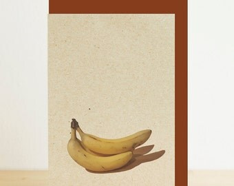 Banana print fruit print blank card with brown envelope, eco friendly photographic print, recycled card, recycled envelope