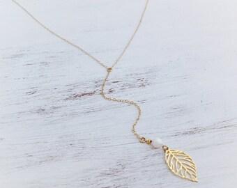 Long Lariat gold filled necklace, gold leaf pendant, white opal bead, gold necklace, lariat necklace, Y Necklace,Gift for her