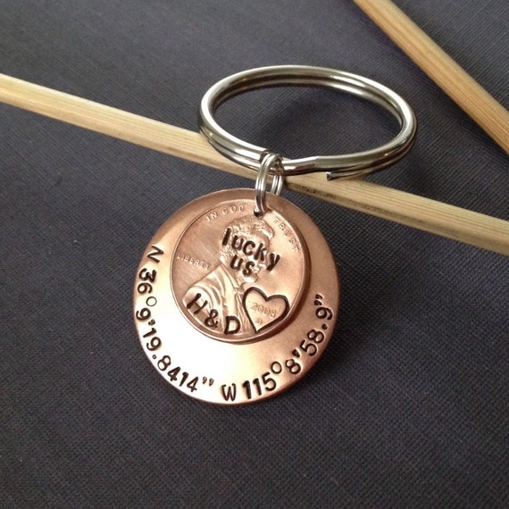 Hand Sted Lucky Us Penny Keychain - Imagez co