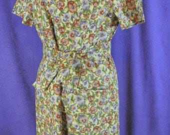"Vintage Screen Print Floral Dress Hoffman International Fabrics ""Les Jardins"" Handmade / Homemade Dress Pansies 2 Sash Belts Satin Trim M-L"