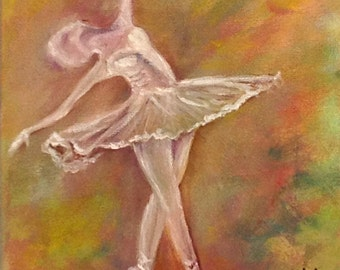 WHITE BALLERINA---Beautiful,colorful,graceful one of a kind original oil painting on stretched canvas Now*******Free Shipping********