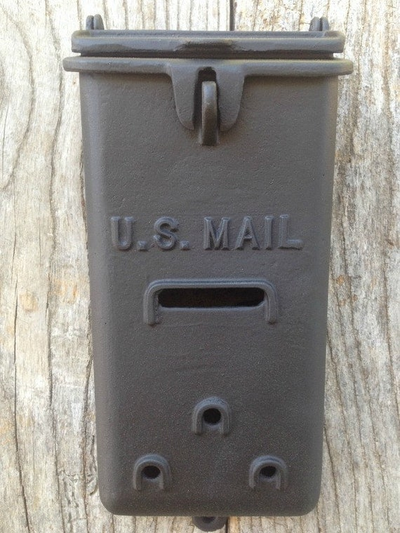 Wall Decor Mailbox : Vintage black cast aluminum mailbox wall or post mount with