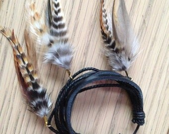 Brown / Black real leather bracelet with rooster feathers boho bohemian grizzly