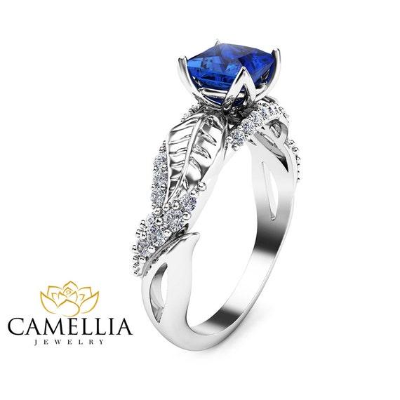 princess sapphire engagement ring 14k white gold
