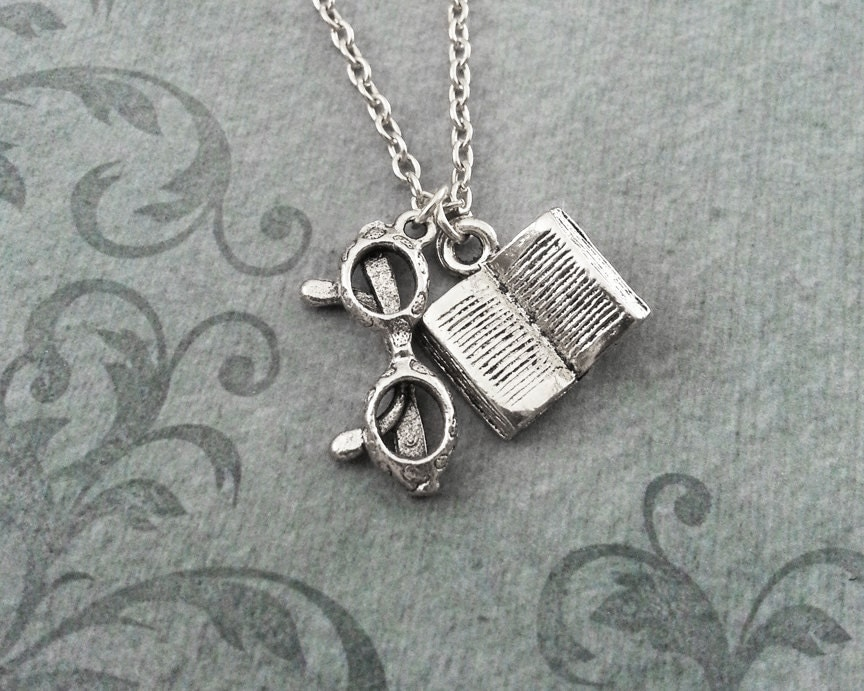 Book Necklace SMALL Reading Glasses Necklace Book Jewelry