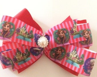 """Red  """"Frozen"""" Hair Bow"""