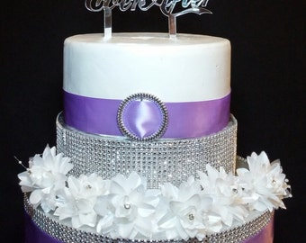 Happily Ever After Silver Mirror Acrylic Cake Topper Wedding & Special Occasion Centerpiece