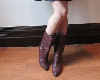 Burgundy Leather Boots, Maroon Slouchy Boots