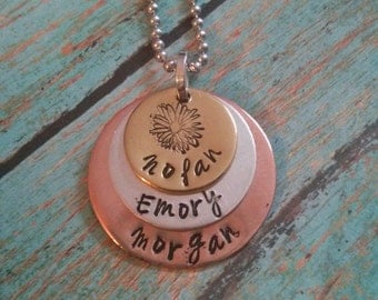 Hand stamped layered family necklace