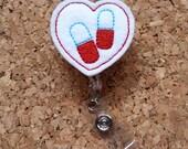 Pill Heart Badge Reel -   Pharmacy Tech Badge Reels - Retractable ID Badge Holder -Pharmacist Badge Holder - Felt Badge Reel -   170