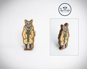 Wooden wolf brooch, wooden wolf jewelry, wooden animal jewelry