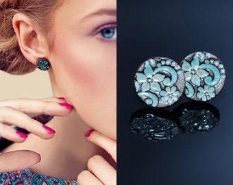 Turquoise flower earrings Big flower studs Ceramic stud earring turquoise earrings 14mm Clay jewelry Clay stud earrings Sterling silver