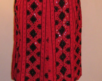 Lovely vintage Uttam fuscia pink cotton mirrored skirt, 1970's, size 12