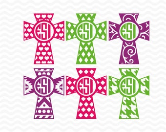 Monogram Cross designs - Set 2, SVG, DXF, EPS cutting files for use with Silhouette Studio and Cricut Design space.