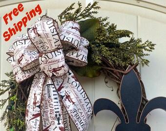 Free Shipping,Louisiana Wreath,Fleur de Lis,Southern Charm,Cajun Theme,Louisiana Bow wreath