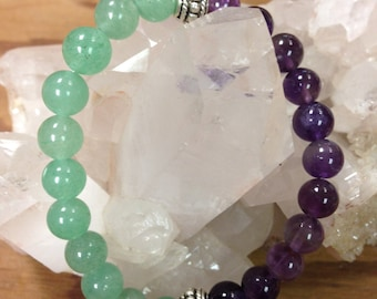 Amethyst and Green Aventurine Bracelet with silver details