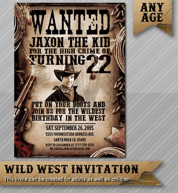 Wanted Invitation - Cowboy Invitation - Western Invitation Printable ...