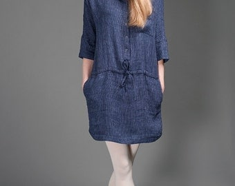 Short Linen Dress with a Hood, dark blue striped natural linen tunic, linen fashion