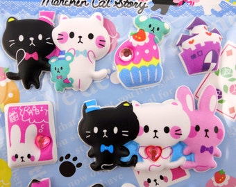 SUPER PUFFY Japanese cat and cupcake 3D stickers - kawaii bunny rabbit - cute mice - dessert sweets - French macarons - rhinestones