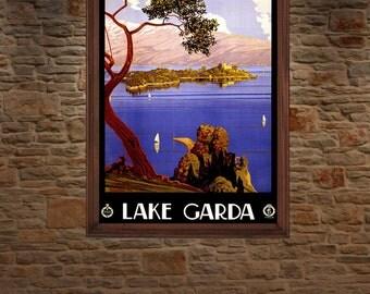 Lago Di Garda ( Lake Garda ) Italy , Vintage Travel Poster.