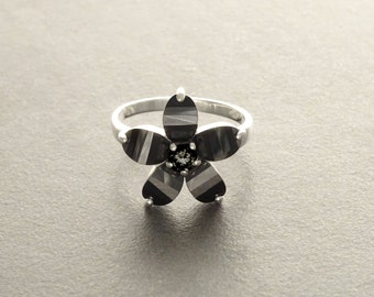 All Black Flower Ring - small Flower Ring - Sterling Silver 925 - Flower Pattern -  Zirconias Ring - Fashion Ring -  Dark Black Jewelry .