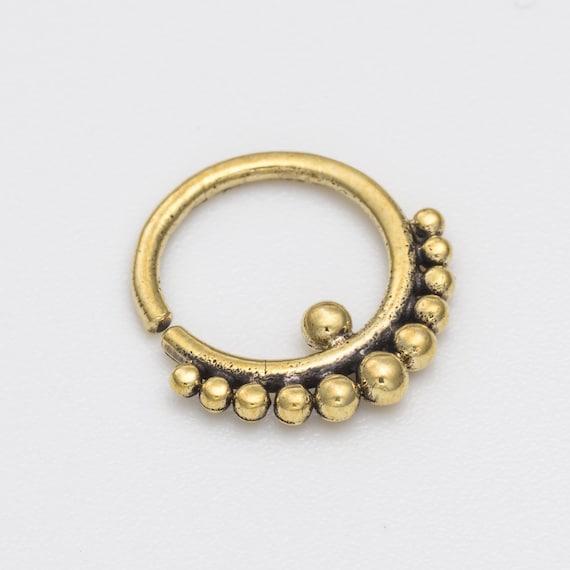 16g Tribal Septum Ring for pierced nose. septum piercing. brass septum ring. tribal brass septum ring.  tribal septum. brass septum. rs39