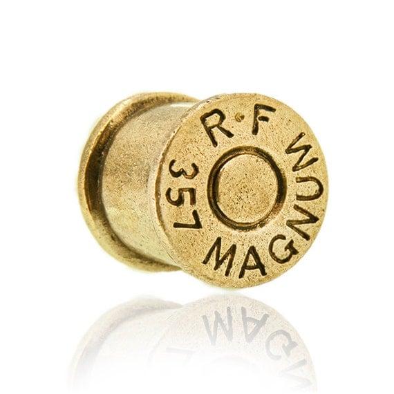 Brass bullet ear plug 6mm 8mm 10mm 12mm 6g 2g 0g 00g 000g. bullet plug. plugs. gauges. ear gauges. ear tunnels. magnum plugs. p7