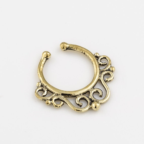 Brass fake septum ring. tribal septum. faux septum.  available in sterling silver and gold plated