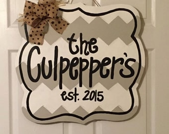 Door Hanger - Wood Cut Out - Personalized Sign. This door hanger can be changed to better meet your style!