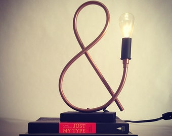Ampersand Copper Pipe Lamp // Exposed Edison Bulb