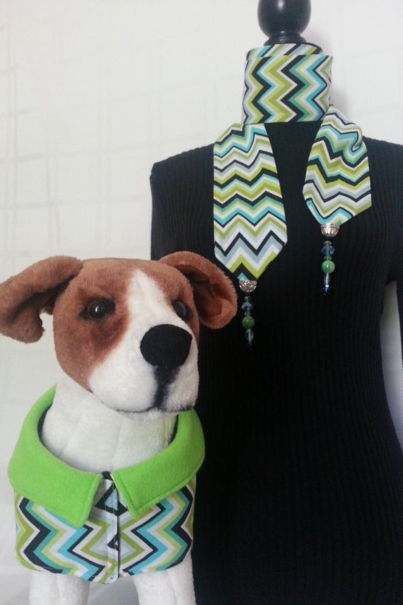 Turquoise, lime green, hand beaded chevron patterned scarf with coordinating dog coat
