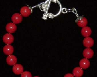 Reiki Infused/Charged Sterling Silver Red Coral Bracelet
