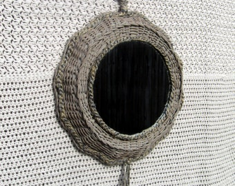 Round & Wicker Mirror