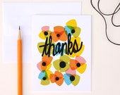 Thank You Cards A2 Set of 8, Modern Floral Thank You Cards