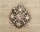 Clear Rhinestones And Silver Metal Filagree Vintage Brooch / Pendant