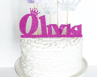 Princess Cake topper - Lavander Purple and Silver - Custom Cake Topper for Princess Party - Firstname and Age