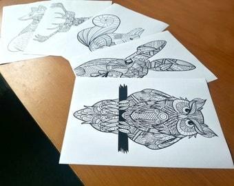 Adult Zentangle Colouring British Wildlife Set of 5