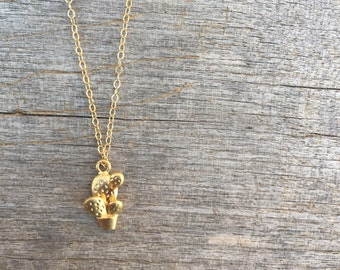 Gold Cactus Necklace - Gold Necklace -Succulent Necklace- Fun Necklace - Cactus Necklace - Simple Necklace - Desert Inspired Necklace