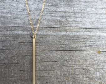 Gold Vertical Bar Necklace -Gold Necklace -Modern Necklace- Gold Stick Necklace - Gold Necklace - Simple Necklace - Bar Necklace