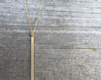 Gold Vertical Bar Necklace -Gold Necklace -Modern Necklace- Gold Stick Necklace - Gold Necklace - Simple Necklace - Bar Necklace