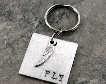 Fly Keychain, Run Fast Wing Keychain,  Flying Runner Key chain, Sprint Track and Field, Track gift, Angel Wings, Fly like the Wind