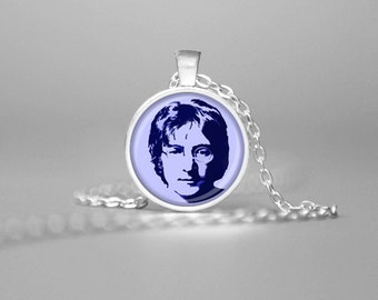 JOHN LENNON NECKLACE John Lennon Jewelry John Lennon Memorabilia John Lennon Pendant John Lennon Art The Beatles The Beatles Green
